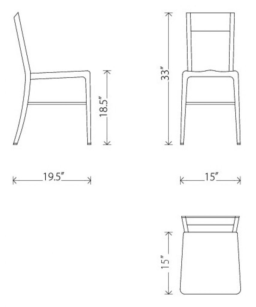 image result for chair dimension  modern fabric dining