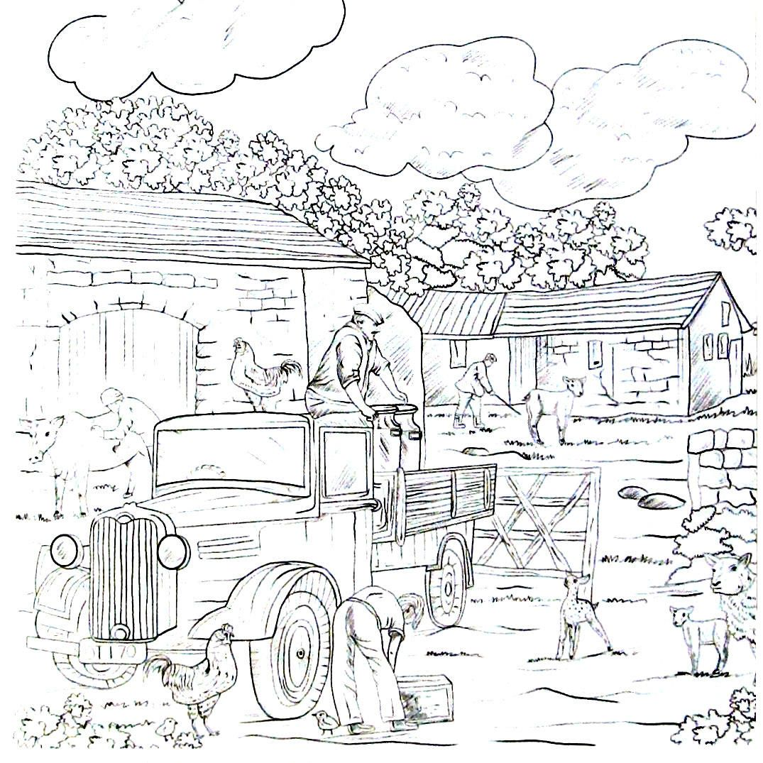 Always busy working on the farm - Country living coloring ...