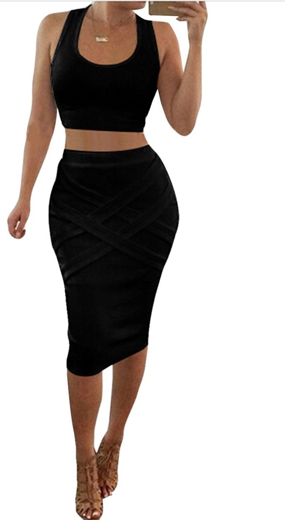 Black Crop Top Midi Skirt Two Piece Outfit + FREE SHIPPING