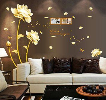 Ufengke® Beautiful Peony Flowers Butterflies Photo Frame Wall Decals, Living  Room Bedroom Removable Wall Stickers Murals | Pinterest | Removable ...