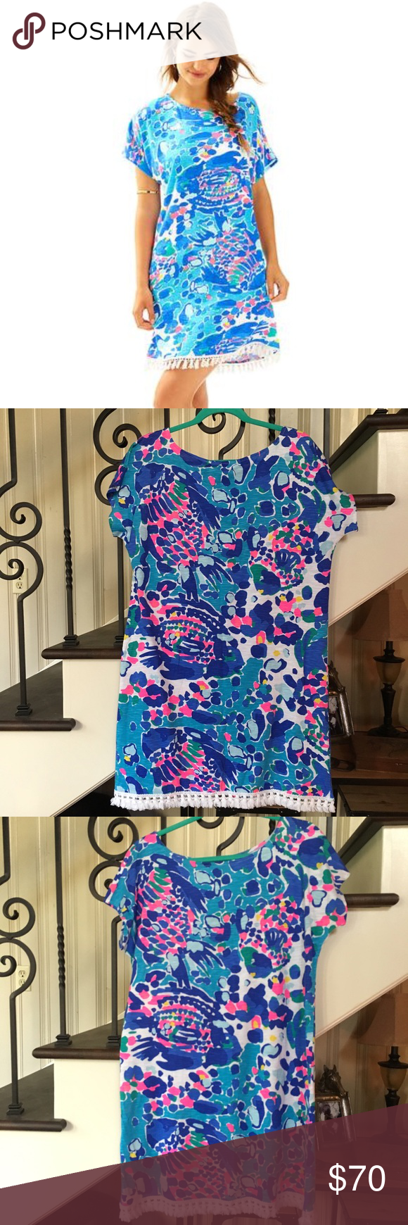 """New Lilly Pulitzer Tilla Dress Size Small New Lilly Pulitzer Tilla Dress Size Small Hit the Spot pattern. Gorgeous colors, very colorful! Tilla Dress - Lilly Pulitzer  We love an easy tunic dress for a weekend away. The Tilla Dress is printed with a fringe hemline, and great for wearing on and off the beach.  Printed Easy Tunic Dress With Fringe Details At Hemline. 19"""" From Natural Waist To Hem. Cotton Modal Slub (60% Cotton, 40% Modal). Machine Wash Cold. Inside Out. With Like Colors…"""