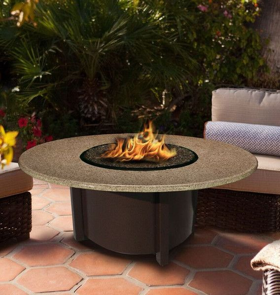 Chat Height Fire Pit-Brown-Diamond White Glass-Sunset Gold - 42