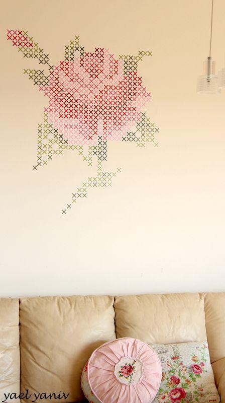 מדבקת קיר ורד - רקמת איקסים   handmade by YaelYaniv   מרמלדה מרקט