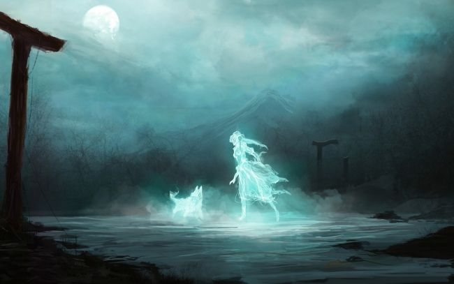 Ghost Girl Dog Wallpapers Pictures Anime Ghost Dark Fantasy Art Water Spirit