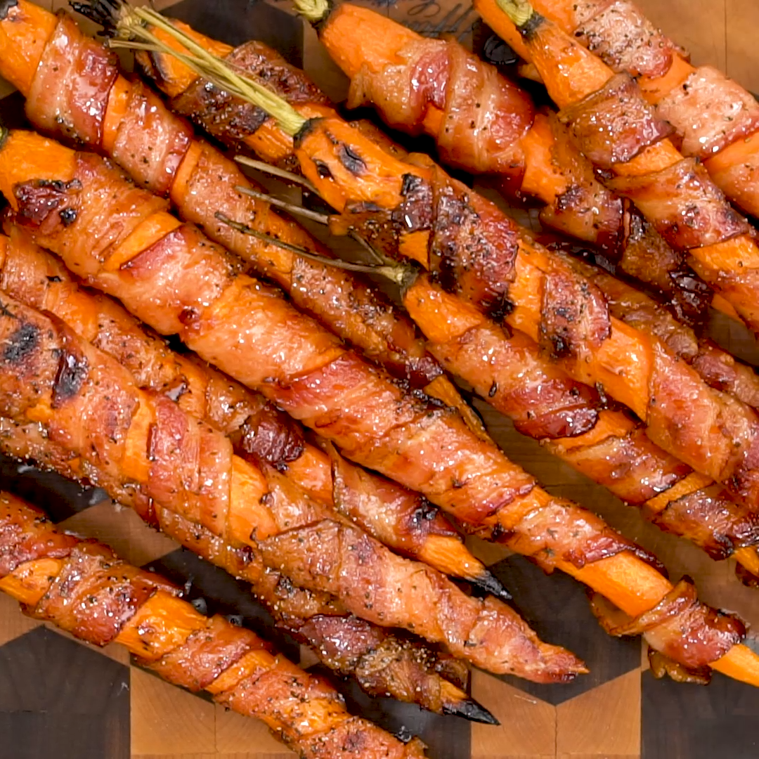Bacon Wrapped Carrots #dinnersidedishes