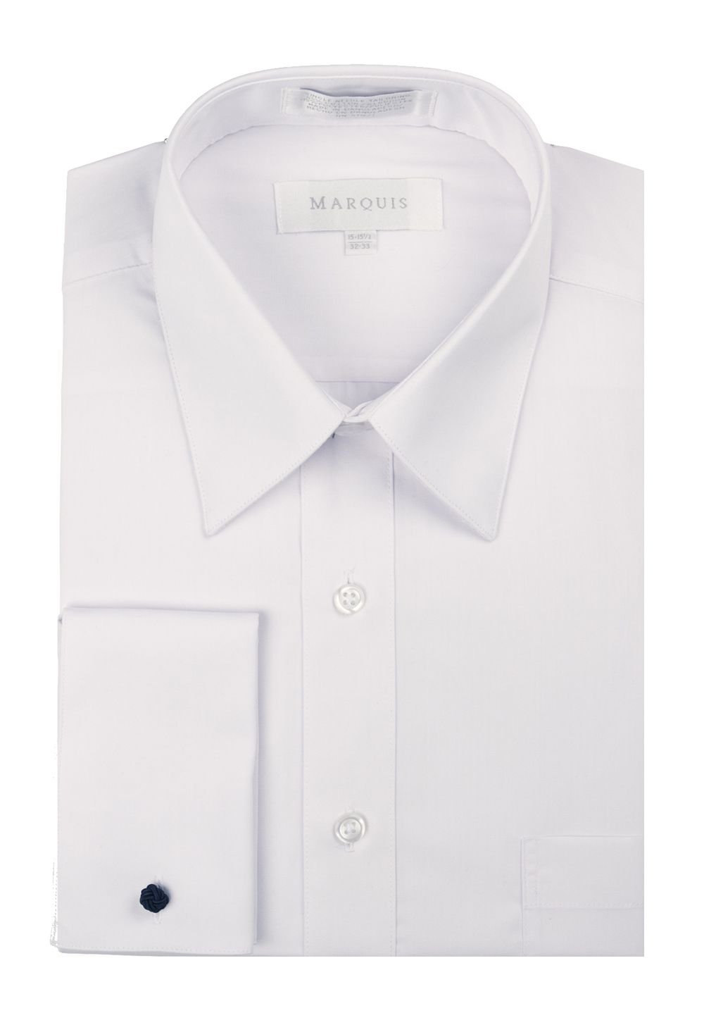 Marquis Mens White Pointed Collar French Cuff Dress Shirt 009f