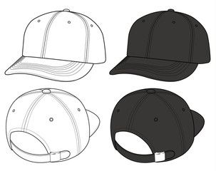 Basic ball cap vector illustration flat sketches template