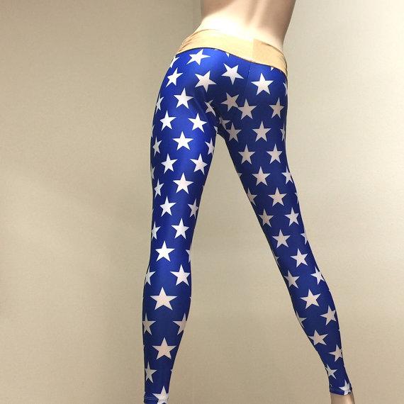 63e89338f3547 Super Hero Pants - Blue Star Pants - Gold - Yoga Pants - Workout Clothes -  Hot Yoga - Fitness - Low