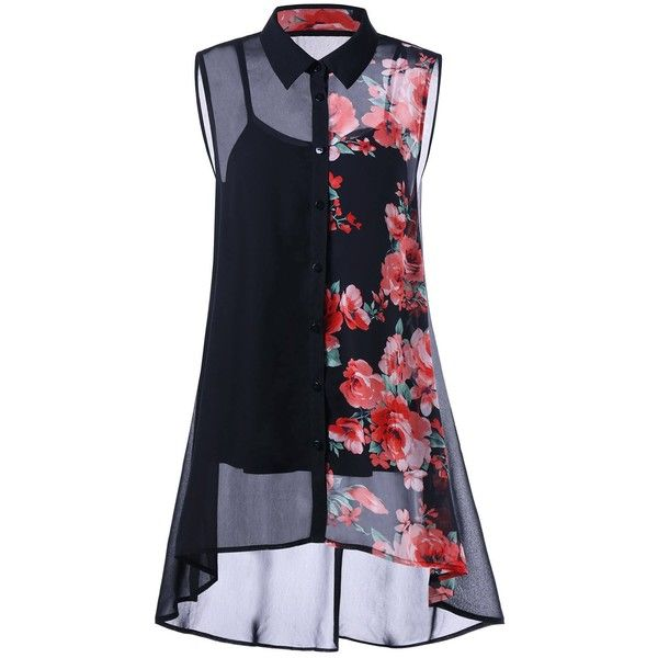 Plus Size Sleeveless Floral Button Down Blouse and Camisole $19