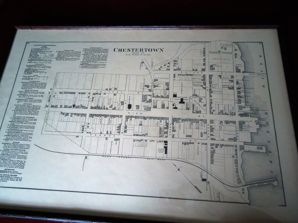 1800s antique historic framed matted map of chestertown