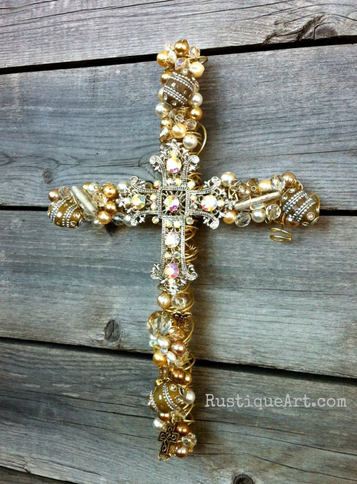 Beaded wire wall cross for a 50th wedding anniversary crosses