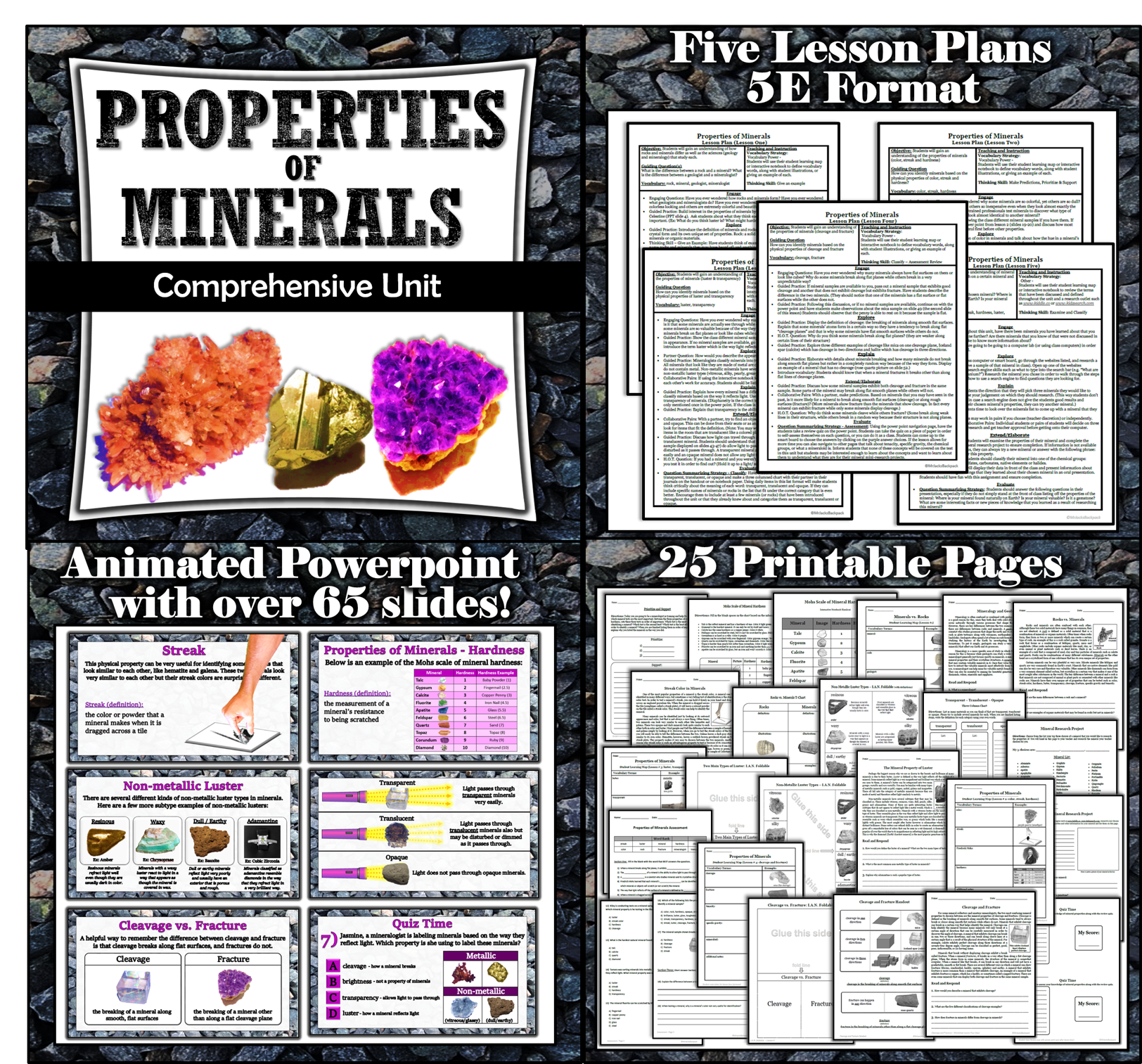 Properties Of Minerals Unit Five Lessons Powerpoint