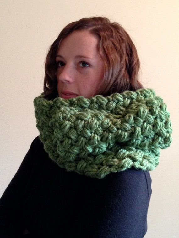 Pea green chunky cowl scarf with giant bow by ArloGerard on Etsy