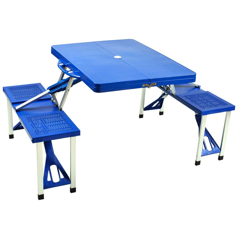Folding Picnic Table and Bench Seats Fold Up Store Camp Benches ...