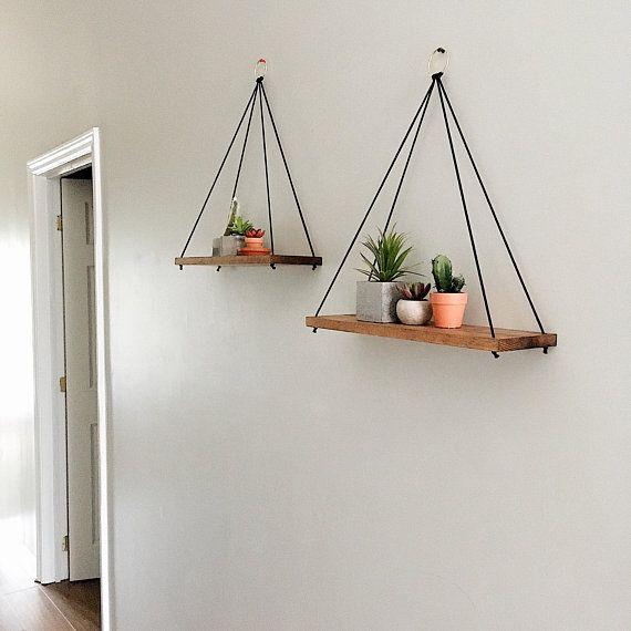 Rope shelves for plants | Hanging rope shelf | Succulent shelf | Rope shelf for bathroom | Floating shelves | Wood shelves | Swing shelf #floatingshelves