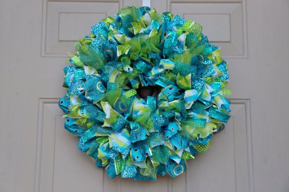 Peacock Ribbon Wreath by HBBeanstalk on Etsy