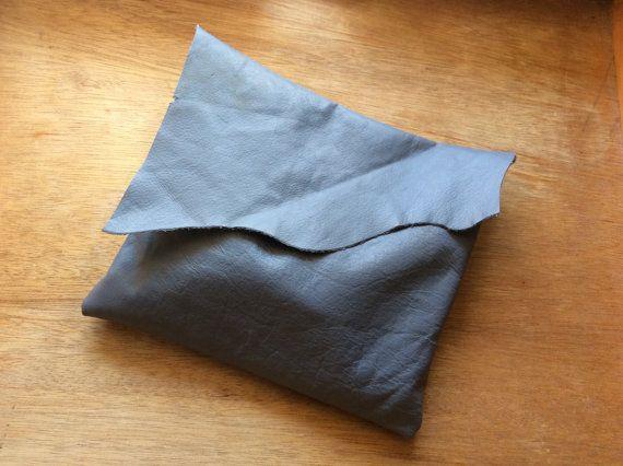 Rustic Grey Leather Clutch-Handmade-Gift by JUSTJOURNALIT on Etsy