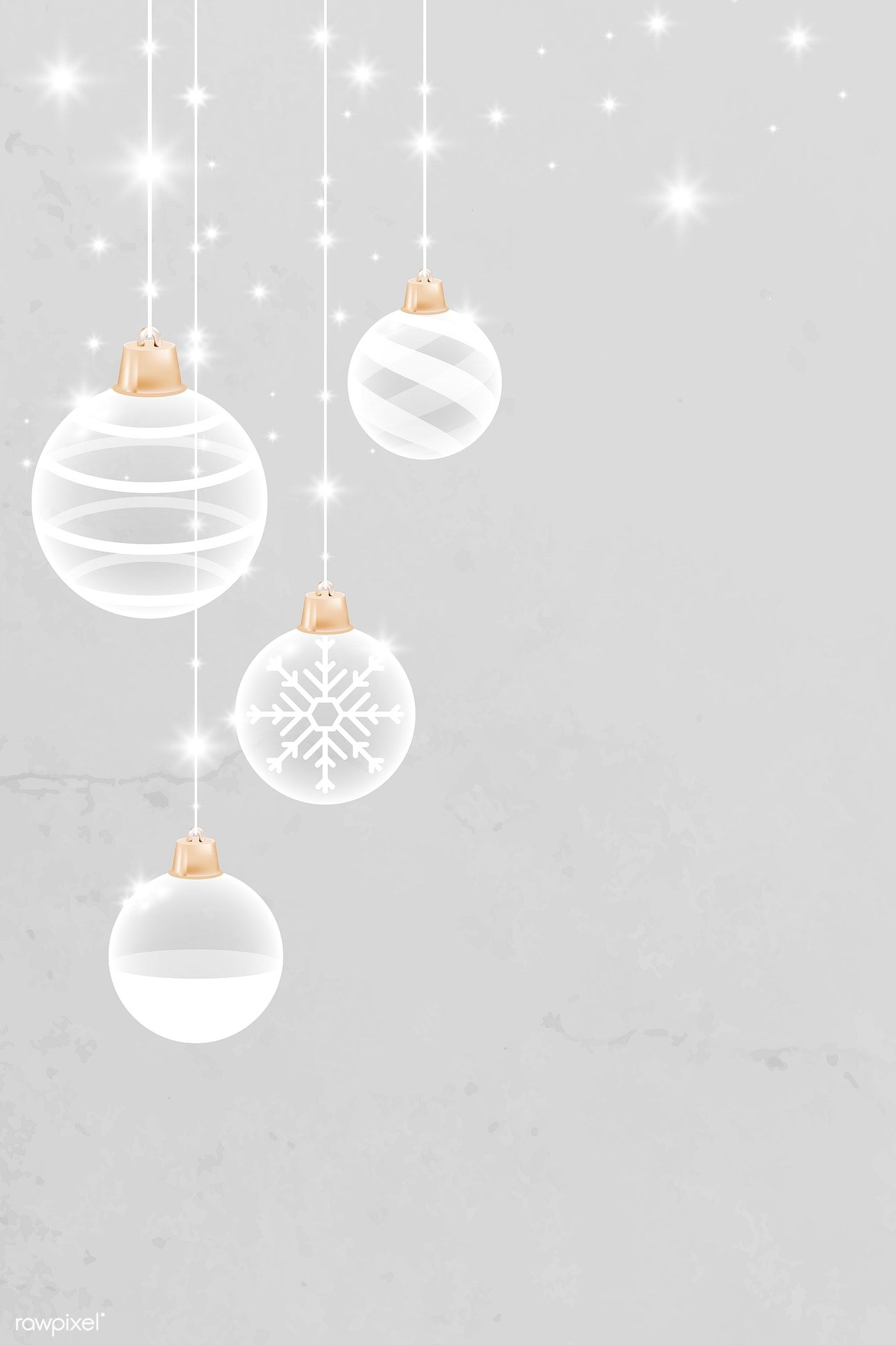 Download Premium Vector Of White Christmas Bauble Patterned On Gray Christmas Baubles Christmas Background Christmas Wallpaper