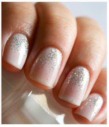 french nail art  glitter  transparency  simple  easy