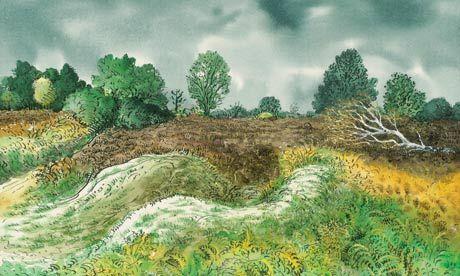 Blaxhall Heath in autumn with fallen birch tree by David Gentleman