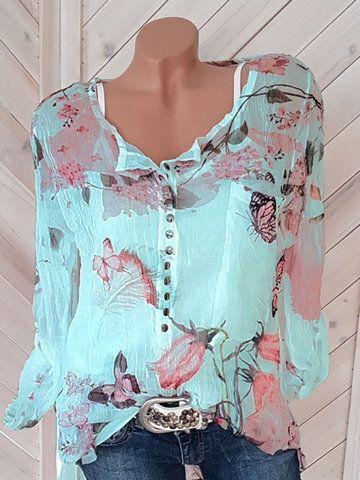 Floral Printed V-neck Long Sleeve Blouses
