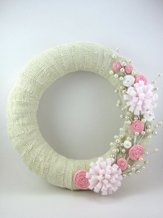 Petal Pink 14inch wreathBurlapRibbon by withloveruthiebug on Etsy, $36.00