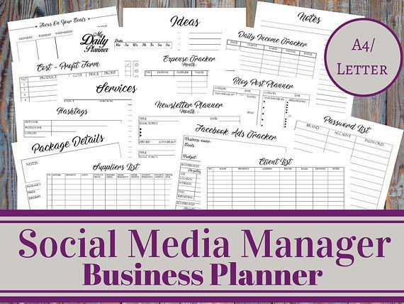 Social Media Manager Business Planner Social Media Account - Thrift store business plan template