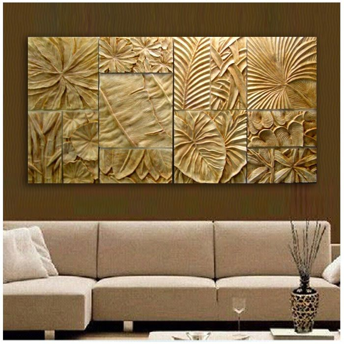 Ivory Tropical Leaves Wall Art 3dwizart.com