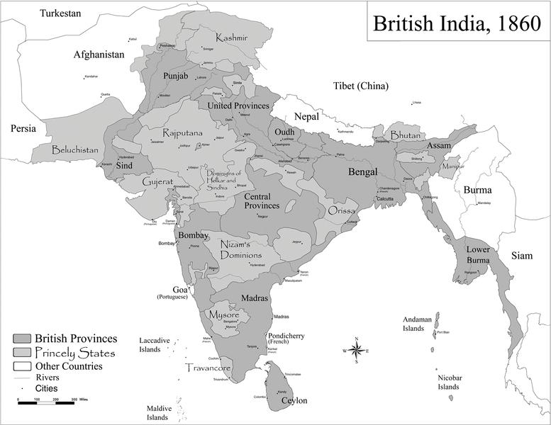 Map of the British Raj in 1860 | India map, British, India