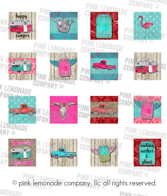 Junk Lovin' 1 inch square kit digital by Pink Lemonade Company. Great for jewelry making, magnets, stickers, etc. Jewelry supply 1 inch clipart scrabble tiles. Vintage trucks, mason jars, campers and more.