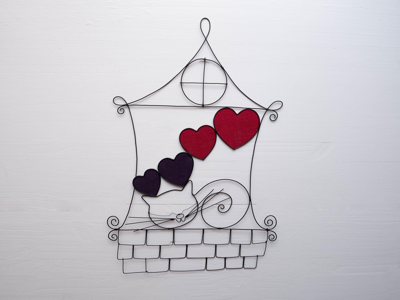 Chat fil de fer recuit, maison, décoration murale, phrase