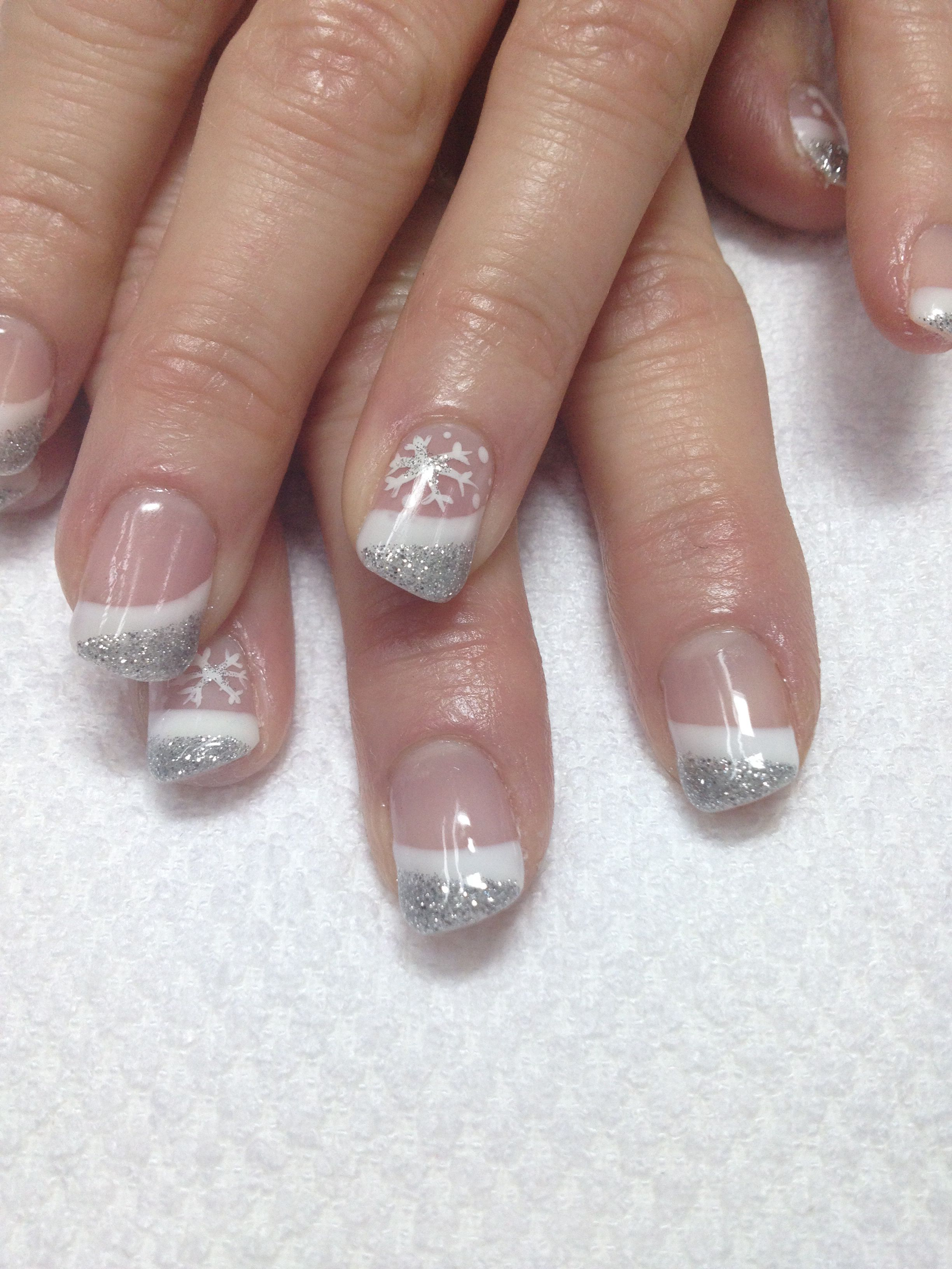 New Years white & silver French gel nails, accented w/ a snowflake ...