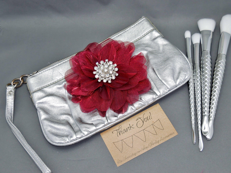 Leather Shabby Rhinestone Flower Toiletry Bag Makeup Brush