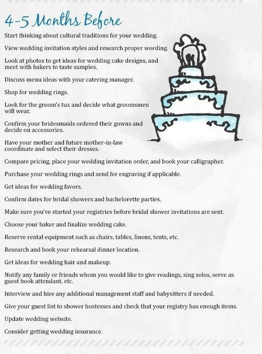 4 To 5 Months Before Wedding Simple Wedding Planning Checklist Wedding Event Planning Wedding To Do List