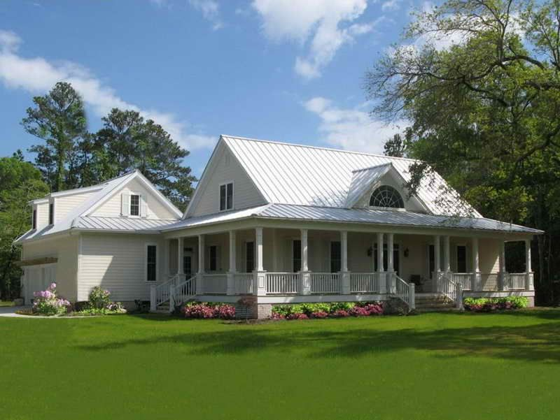 one story country house plans wrap around porch and white wall