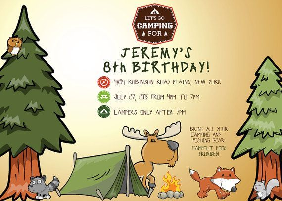Free Printable Camping Birthday Invitations Printable Camp