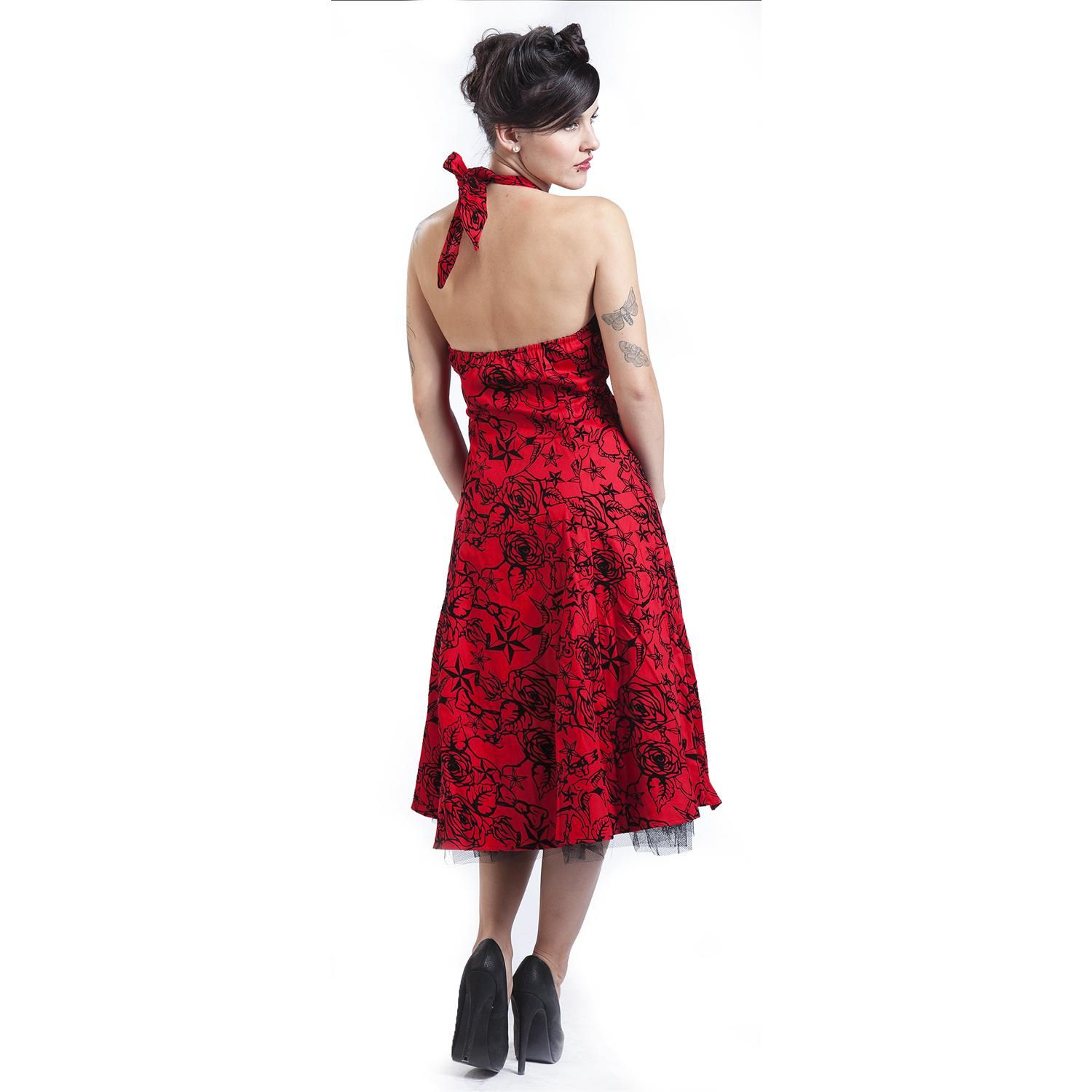 Red Flocking Long Dress - Mekko - H&R London - Tuotenumero: 236319 - alkaen 59,99 € • EMP.fi