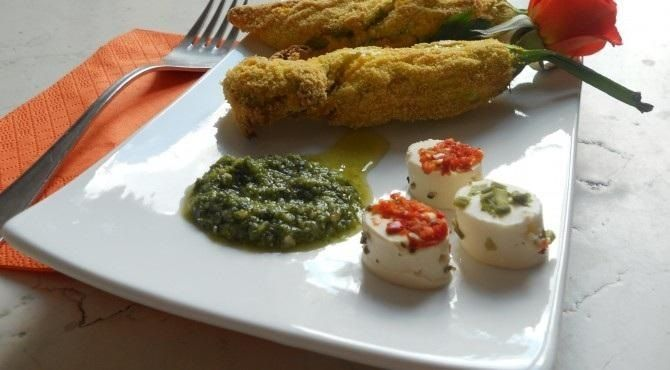 Opentaste - Courgettes flowers stuffed with goat cheese
