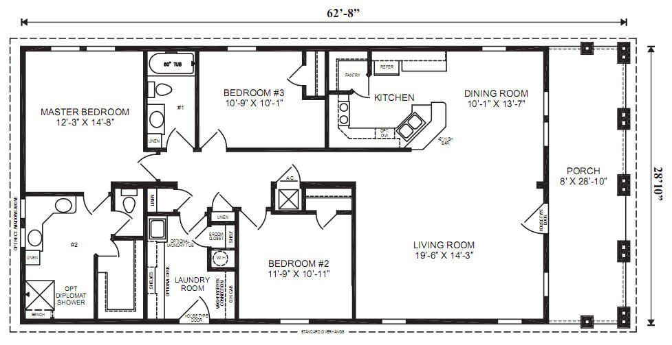 The captiva ii modular home 3 bedrooms 2 baths square for 4 bedroom mobile home floor plans