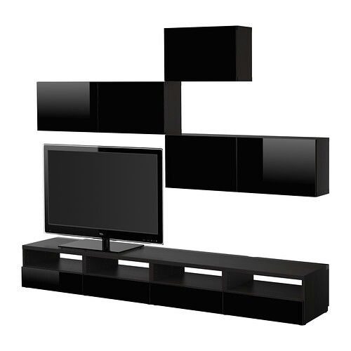 BESTÅTV storage combination, black-brown, Tofta high-gloss/black,240x20/40x178 cm