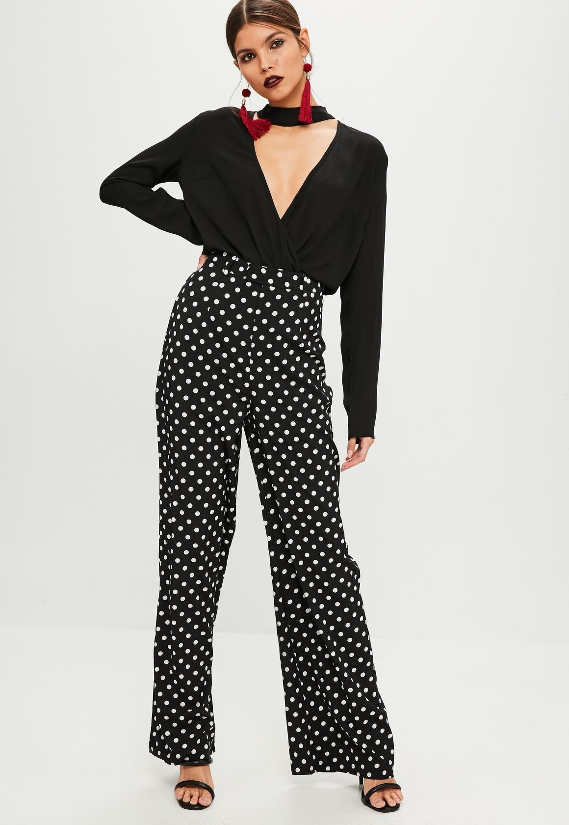 79b6789226 Missguided - Black Polka Dot Wide Leg Trousers   threads   Trousers ...