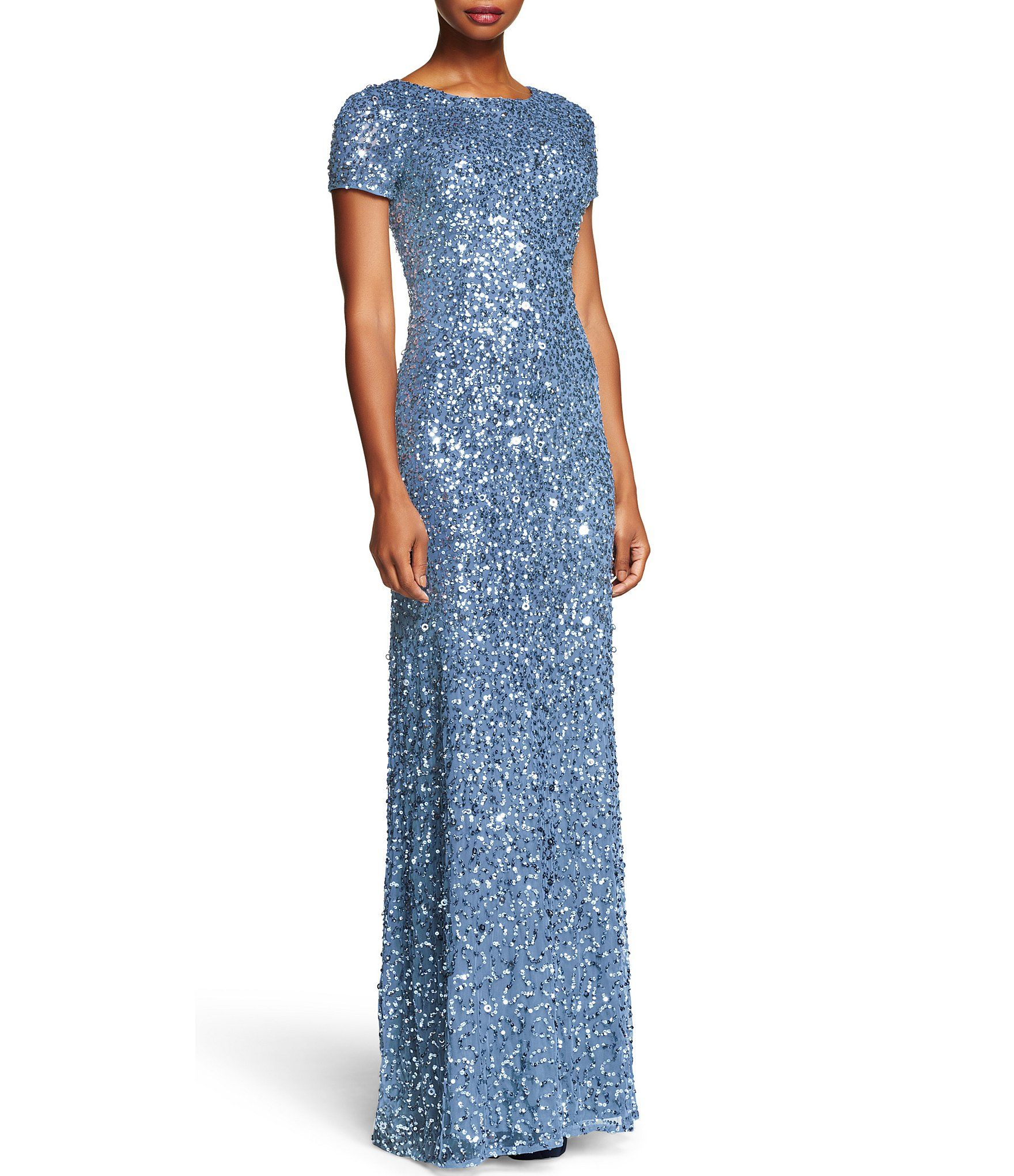 Adrianna Papell Short-Sleeve Sequined Long Skirt Gown | Dillards ...
