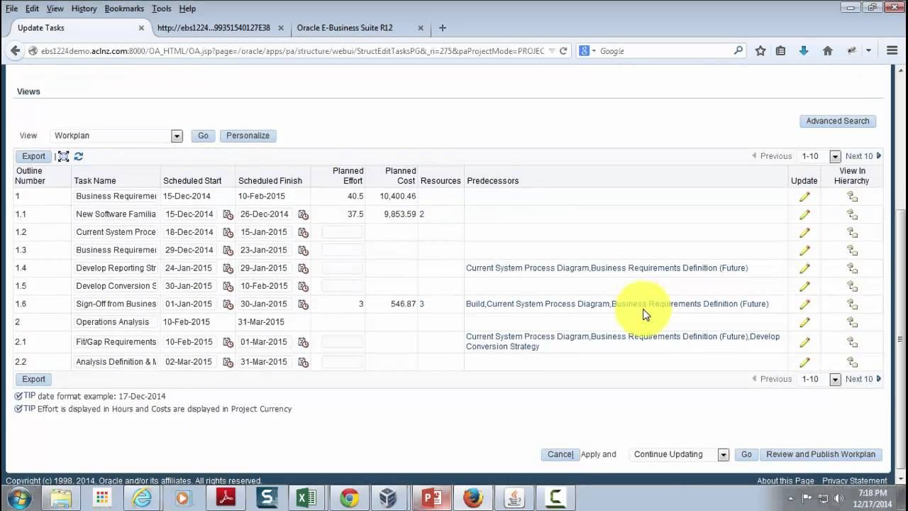 On YouTube Different Workplan Views in Oracle Project
