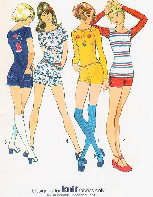 70s Simplicity 9756 Vintage Sewing Pattern Roller Girl Hip Hugger Short Shorts Hot Pants and Kawaii T Shirt Top UNCUT Bust 40