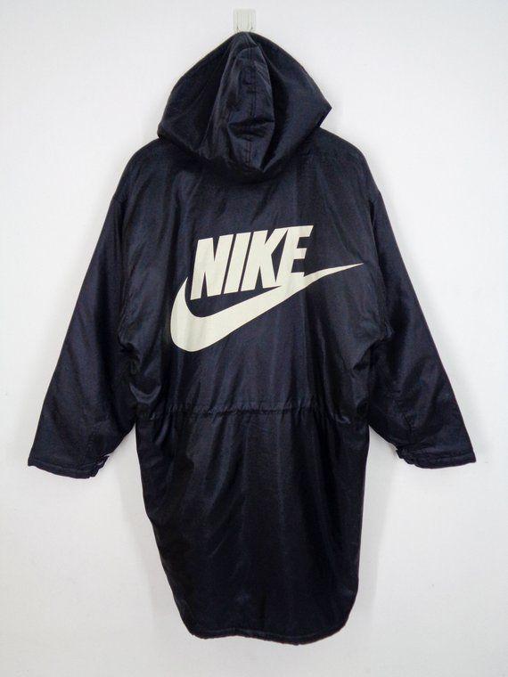 b5bc592811 NIKE Swoosh Parka Jacket Vintage 90 s Nike Swoosh Big Logo Sherpa Jacket  Nike Winter Long Jacket 100% Nylon Men s Size L