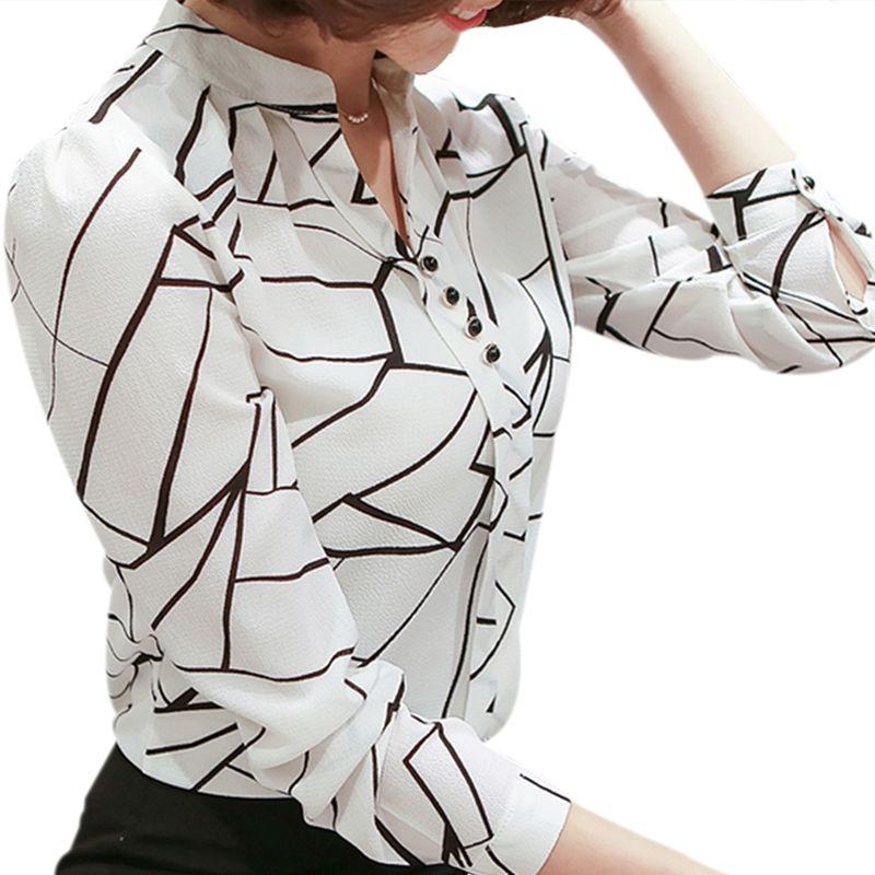 bb2addd4c Barato 2018 Mulheres Da Moda Blusa Camisas de Manga Longa Blusas de Chiffon  Listrado Dot Senhora OL Escritório Blusas de Impressão das Mulheres Top  Feminino ...
