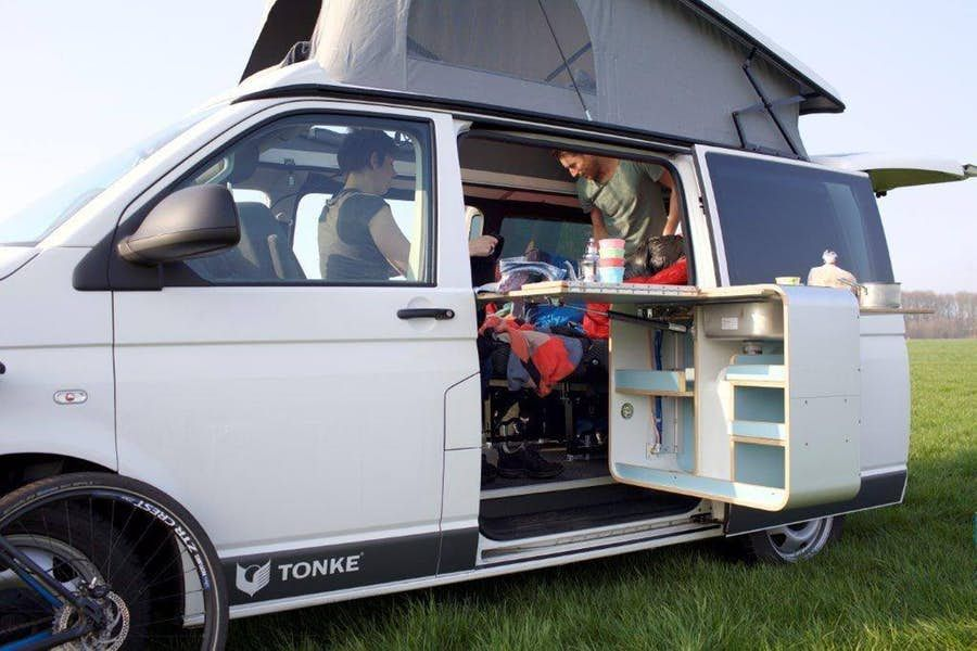 Tonke Turns The New Vw T6 Into Versatile Camper Van In 2020 Camper Van Camper Kitchen Vw Bus Camper