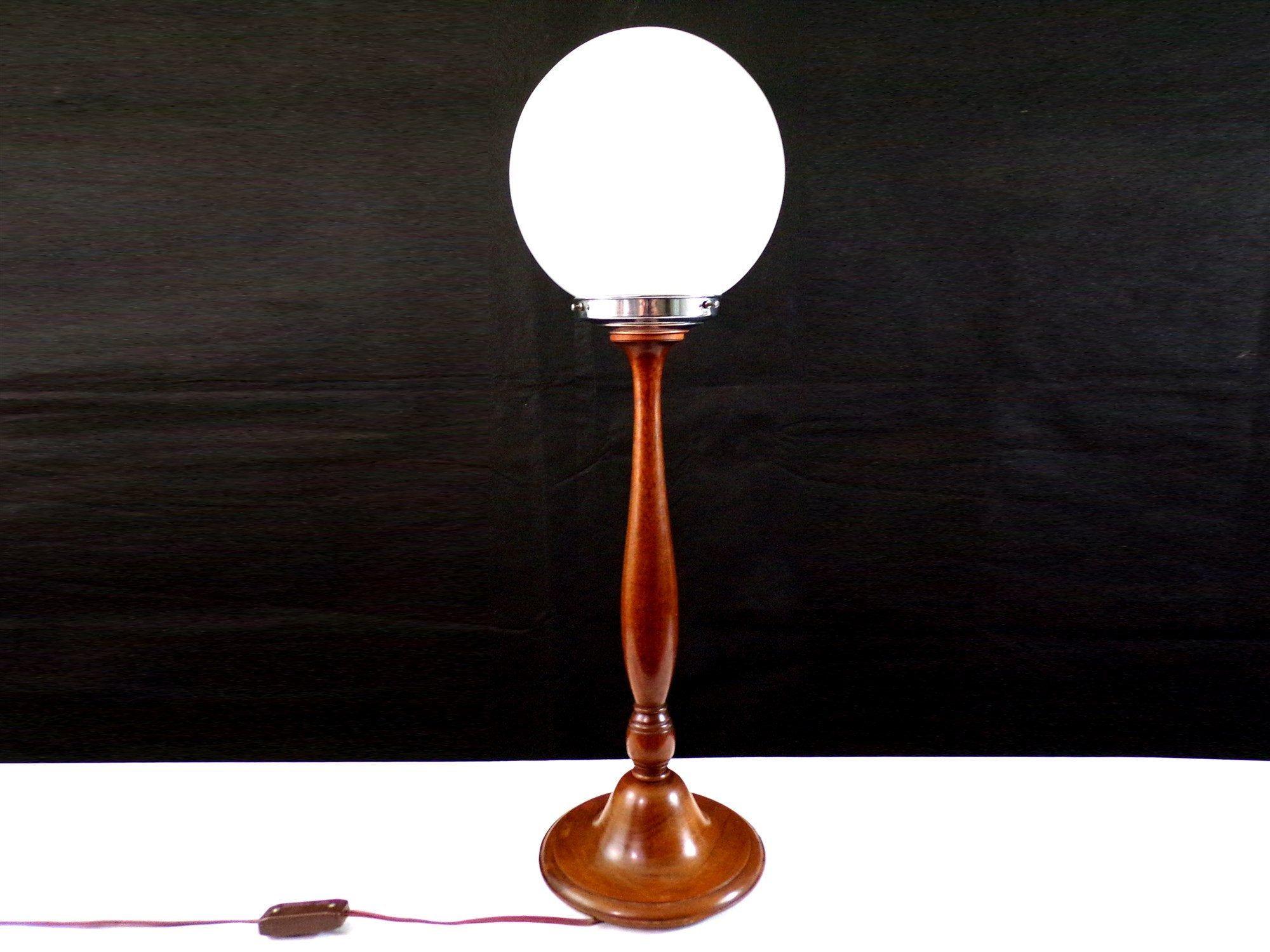 Grande Lampe A Poser En Bois Et Globe Opaline Blanche Decoration Retro Vintage Lamp Novelty Lamp Table Lamp
