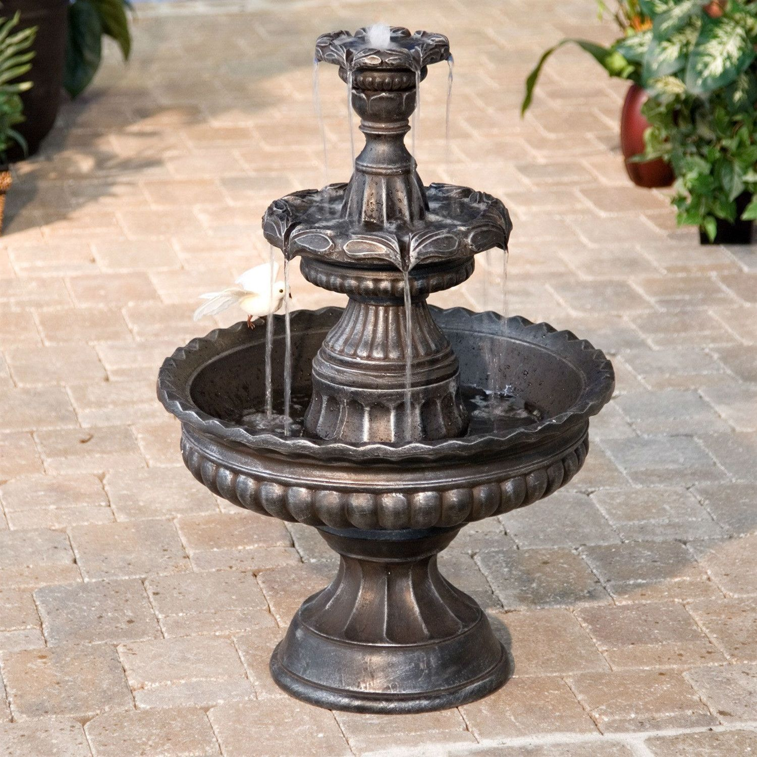 3 Tier Fountain In Outdoor Weather Resistant Resin Bronze Finish Fountains Backyard Water Fountains Outdoor Fountains Outdoor