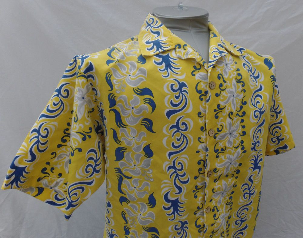 64ac8a95 Floral Hawaiian Shirt Odo XL Yellow Gray White Button Front Mens Polyester  SS #Odo #ButtonFront